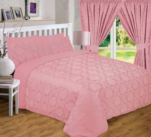 PINK DUSKY DAMASK JACQUARD SCROLL FLORAL DUVET COVER LUXURY BEDDING OR CURTAINS
